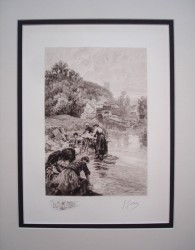Washerwomen at Montbard Cote D'or Evening