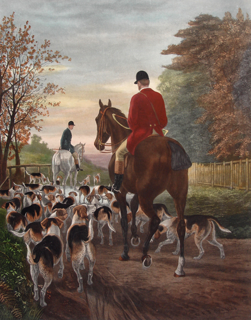 PAIR OF PRINTS: Morning (Going to Cover) & Evening (Returning to the Kennels)