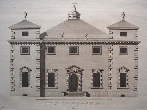 Principal Front, South Front, and Plan of Coombank in Kent