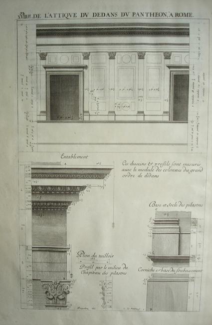 De L'attique Du Dedans Du Pantheon A Rome