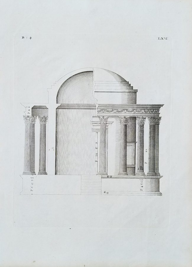 Antique Architectural Engraving Print, Palladio, Andrea