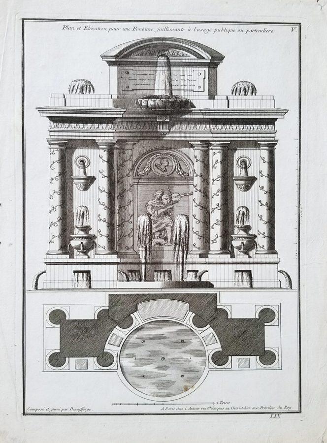 Et Elevation Pour Une Fontaine Jaillissante a Lusage Publique Ou Particuliere