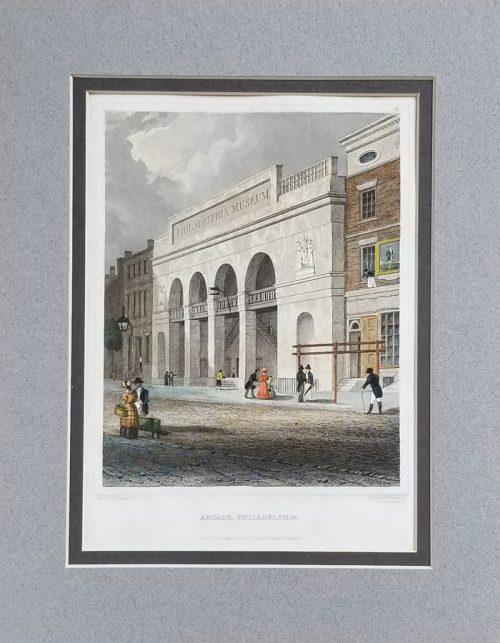 Hand Colored Engraving of Arcade Philadelphia (Philadelphia Museum)