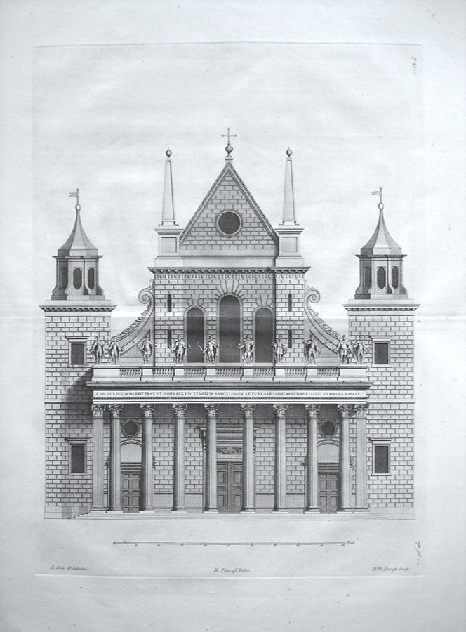 The Elevation of the Portico at the west end of the Old Cathedral of St Paul and Plan